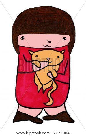 Cute Beaver With Kitten Cartoon