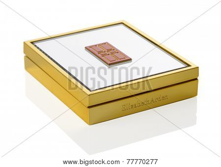 TELFORD, UK - DEC 08, 2014: An Elizabeth Arden compact of blusher in retail packaging with mirror lid.  Elizabeth Arden is a US based cosmetics company with headquarters in Miramar, Florida