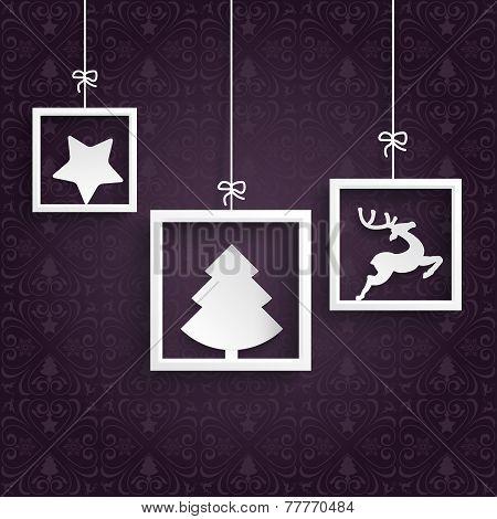 Purple Ornaments 3 White Frames