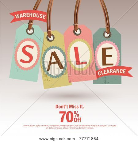 Warehouse Sale Clearance tag design