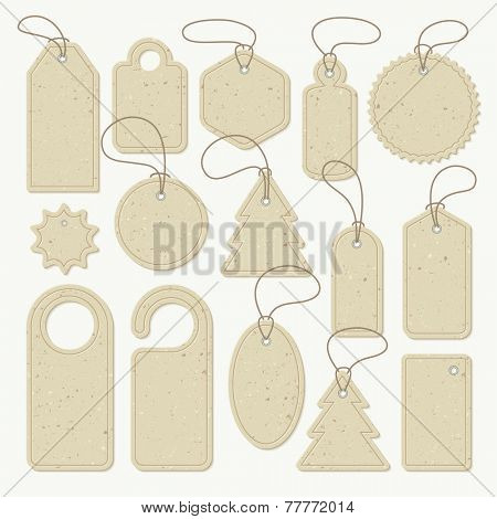 Set of cardboard tags of different shapes, vector. Each object can be used separately