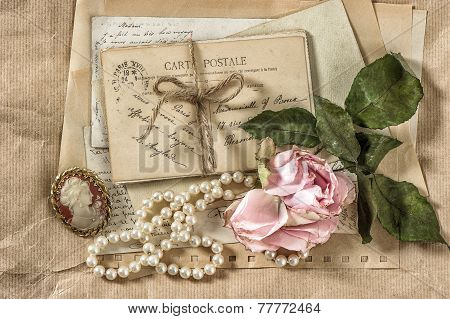 Old Letters, Postcards, Rose Flower And Vintage Things
