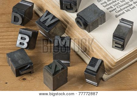 Old lead ink printing type from a book printing company