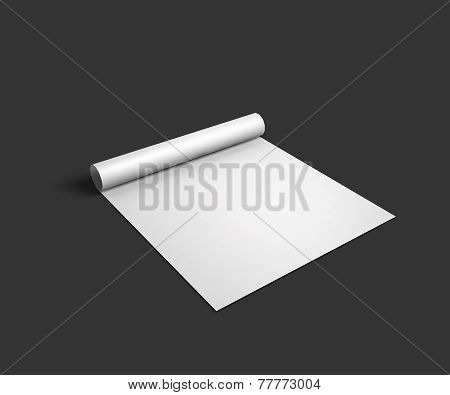 Blank sheet mockup template with page curl and shadow.