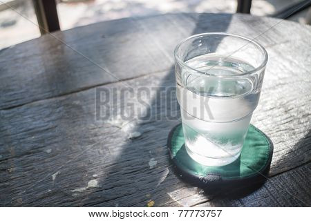 Glass Of Cold Drinking Water On Wooden Table
