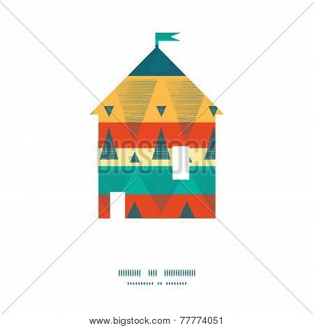 Vector vibrant ikat stripes house silhouette pattern frame