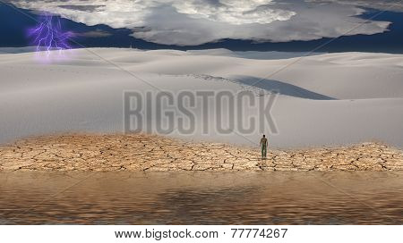 Man stands before vast desert landscape