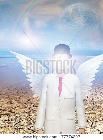 Winged figure with obscured face in surreal landscape Elements of this image furnished by NASA