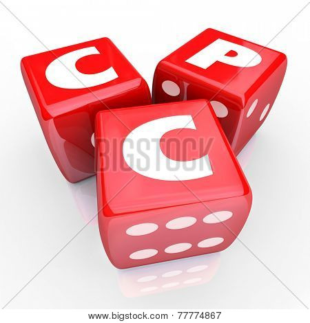 CPC words in abbreviation or acronym on three red dice to illustrate the risk in spending on targeted online advertising or marketing