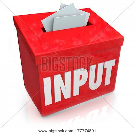 Input word on a 3d red box to illustrate collection of feedback, comments, reviews, criticism and ideas to improve or succeed in reaching goals