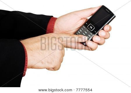Businessman's Hand Holding A Cell Phone