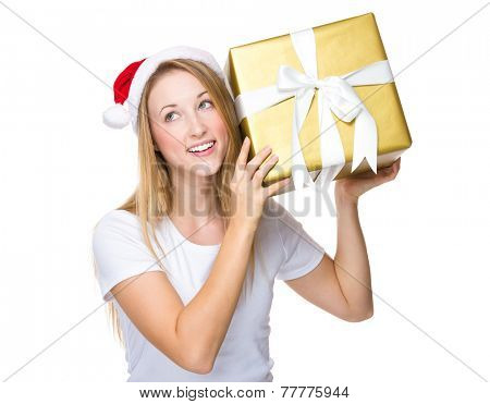 Xmas woman guess the gift in box