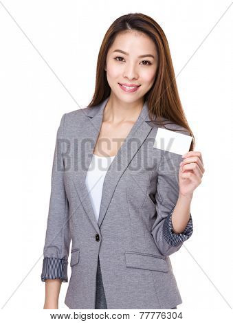 Businesswoman hold with name card