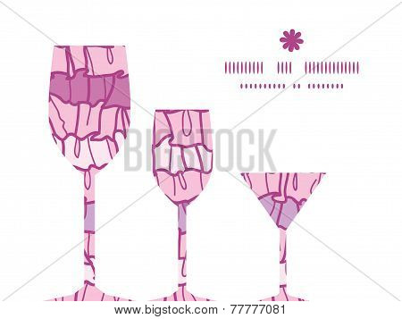 Vector pink ruffle fabric stripes three wine glasses silhouettes pattern frame