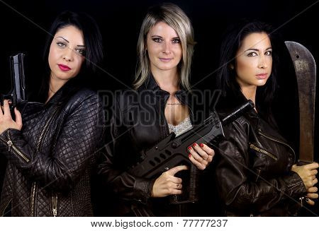 three women rebels dressed leather
