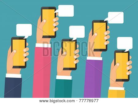 Mobile instant messenger chat, hands with smartphones. Flat design vector illustration.