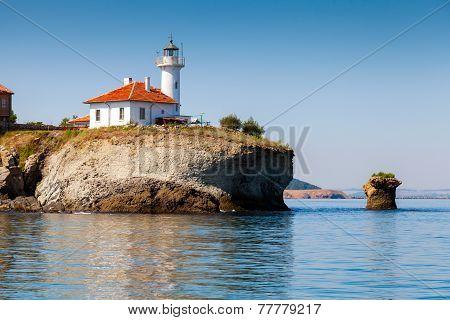 White Lighthouse Tower On St. Anastasia Island