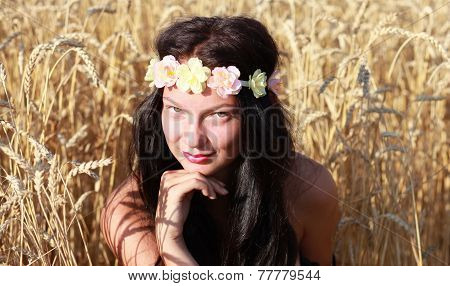 Pretty model in cornfield