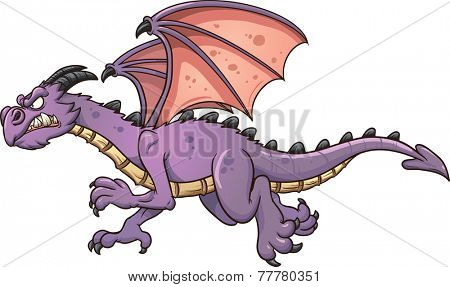 Flying cartoon dragon. Vector clip art illustration with simple gradients. All in a single layer.