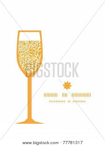 Vector golden lace roses wine glass silhouette pattern frame