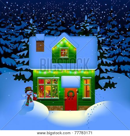 Winter night with spruce forest in the snow and alone illuminated green wooden Christmas house. Christmas and New Year greeting card