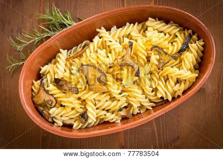 Fusilli with mushrooms and bottarga, sardinian cuisine