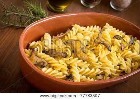 Fusilli with bottarga and mushrooms