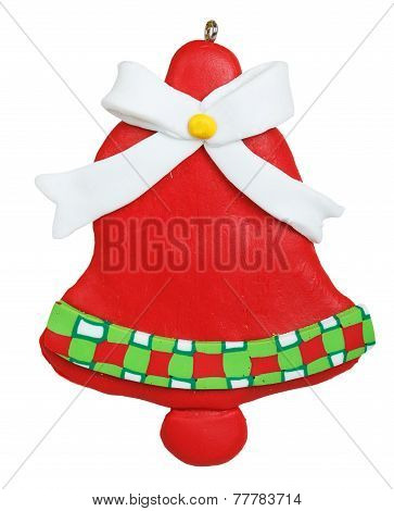 Christmas Bell Made Of Polymer Clay