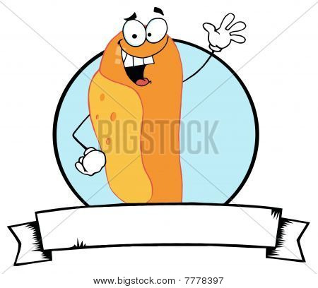 Cartoon   Mascot-Lucky Hot Dog Waving A Greeting