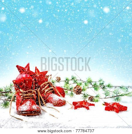 Christmas Decoration With Antique Baby Shoes. Falling Snow Effect