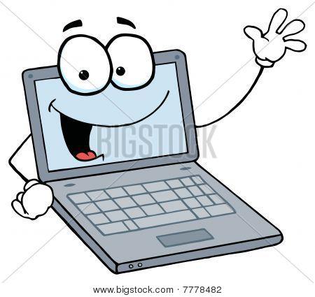 Laptop Cartoon Character Waving A Greeting