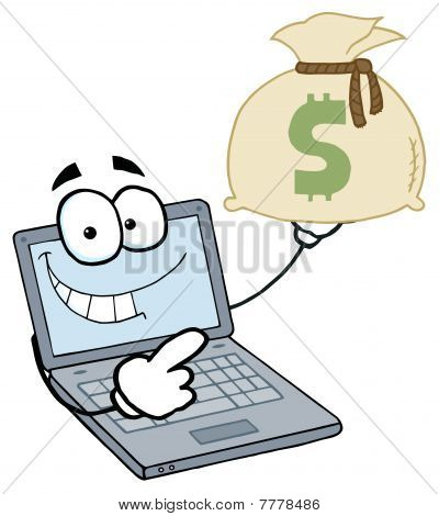 Laptop Cartoon Character Displays Money Bag
