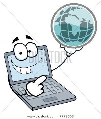 Laptop Guy Holding a Globe