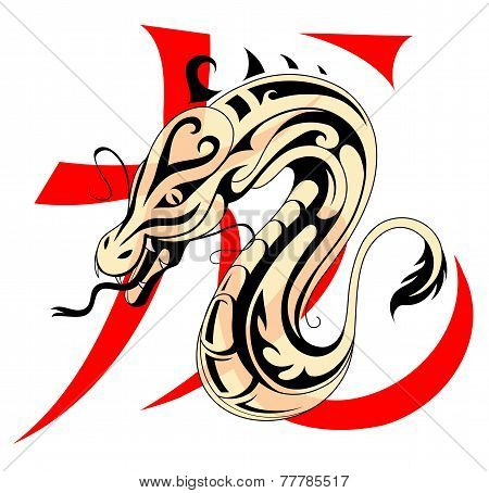 Dragon With Chinese Hieroglyph