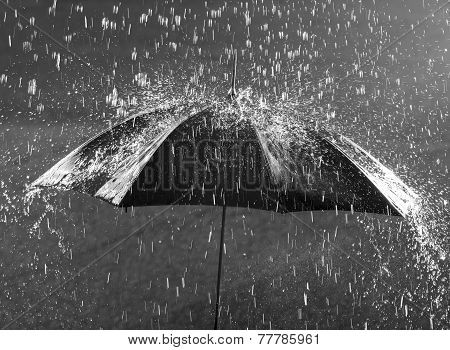 Umbrella In Heavy Rain