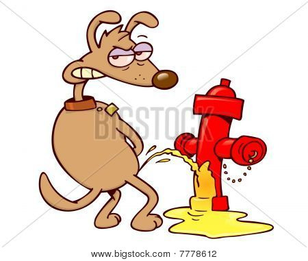 Dog urinating on a fire hydrant