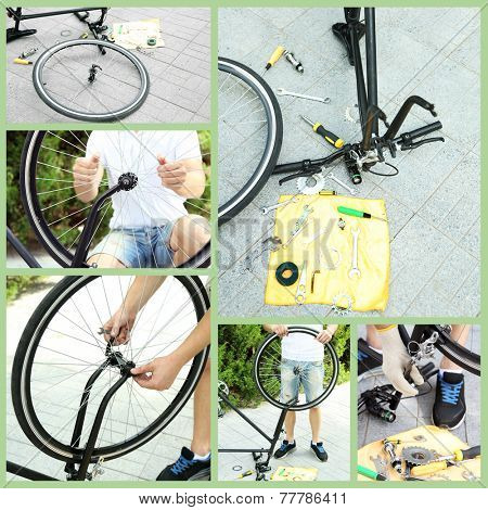 Repairing bicycle collage