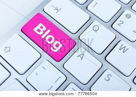 Close up of BLOG keyboard button