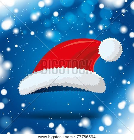 santa hat on blue winter background