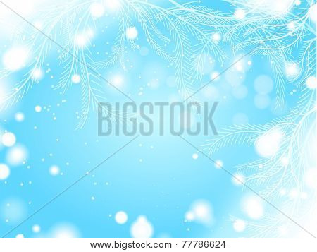 light blue winter background with snowflake border