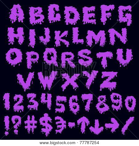 Purple font smudges. alphabet splashing
