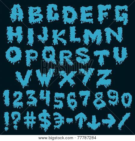 Blue font smudges. alphabet splashing