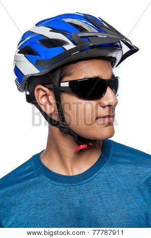 Man In Bike Helmet.