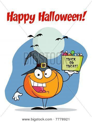 Happy Halloween Greeting Over A Pumpkin