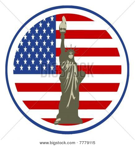 Statue of Liberty In USA Flag