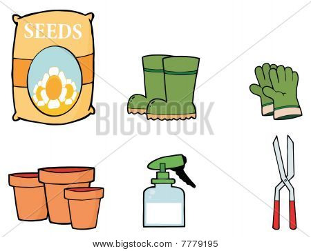 Digital Collage Of Flower Seeds, Boots, Gloves, Pots, A Spray Bottle And Pruners