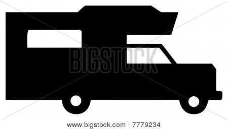 Black And White Camper SilhouetteCamper Clipart