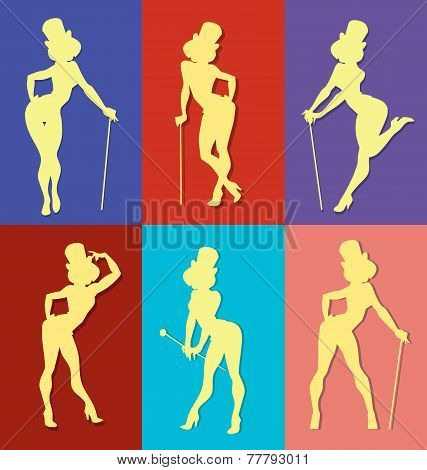 pin up style silhouette of show girl