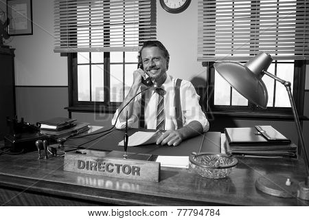 1950S Office: Director Working On The Phone