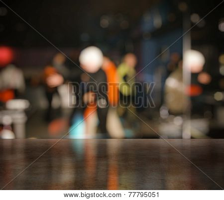 bar in a night club near dancefloor